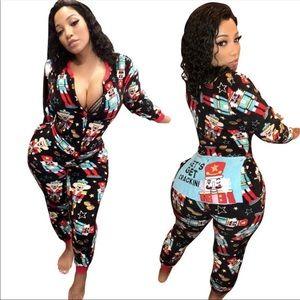 Sexy One-Piece Graphic Christmas Pajamas Jumpsuit